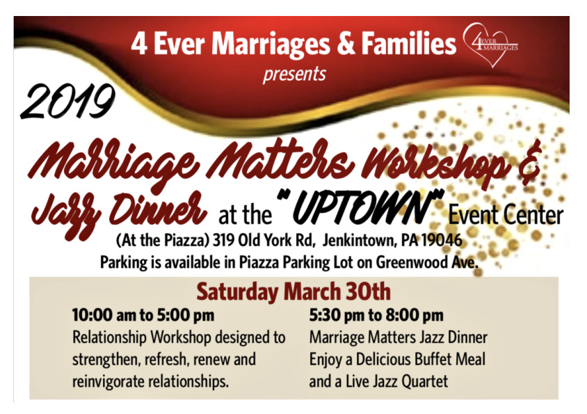Marriage Matters Workshop & Jazz Dinner at The Uptown
